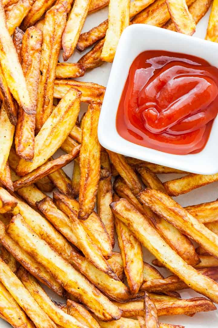 Crispy air fryer french fries are made with just a small