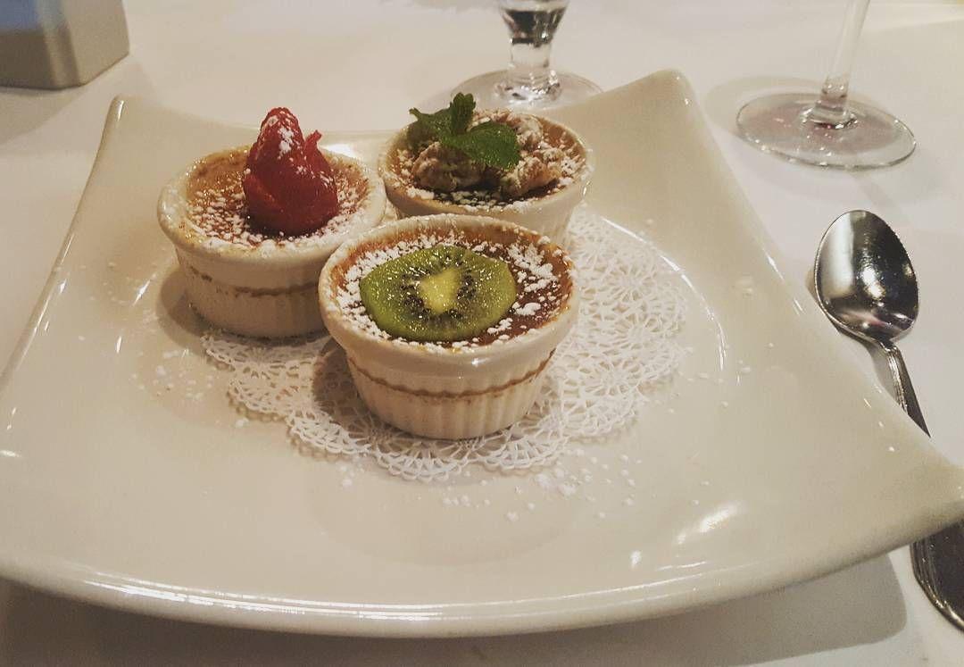 Creme Brulee Trio - vanilla, chocolate, and espresso. #cremebrulee #cremebruleetrio #dessert #ahnomnomnom #yummy #gourmetfood #gourmetdessert #gourmet #foodiespot #foodie #frenchfood #frenchcuisine #vanilla #chocolate #espresso #eatwell #enjoy #bonappetit http://w3food.com/ipost/1512040429779249106/?code=BT72MJ_BWfS