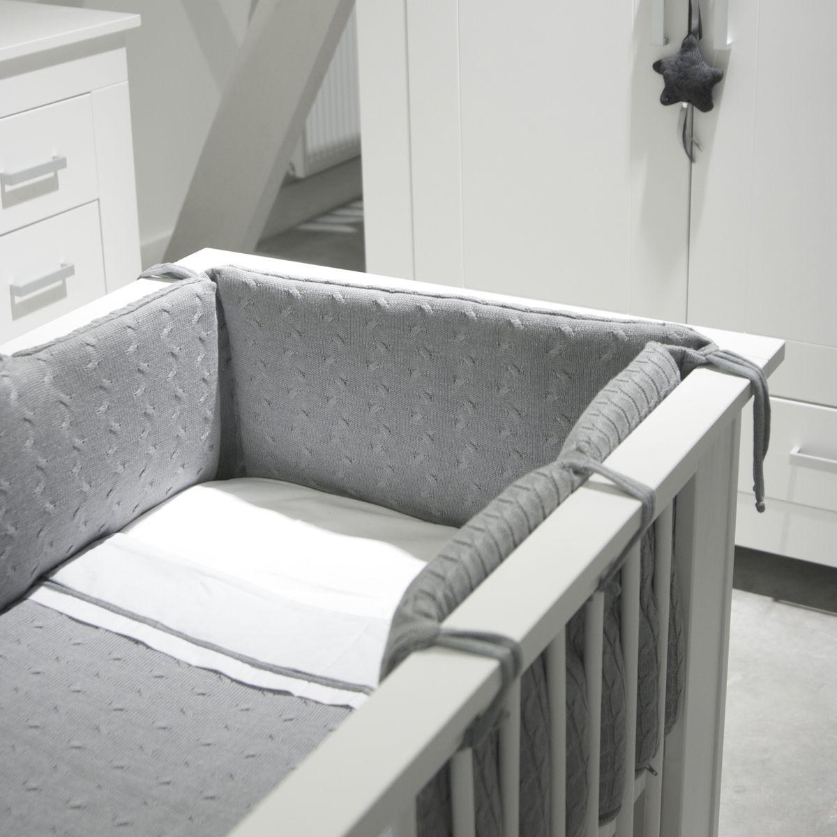 strick babybett nestchen 'zopf uni' grau | shops und oder - Nestchen Babybett Motiven Stoffen Ideen
