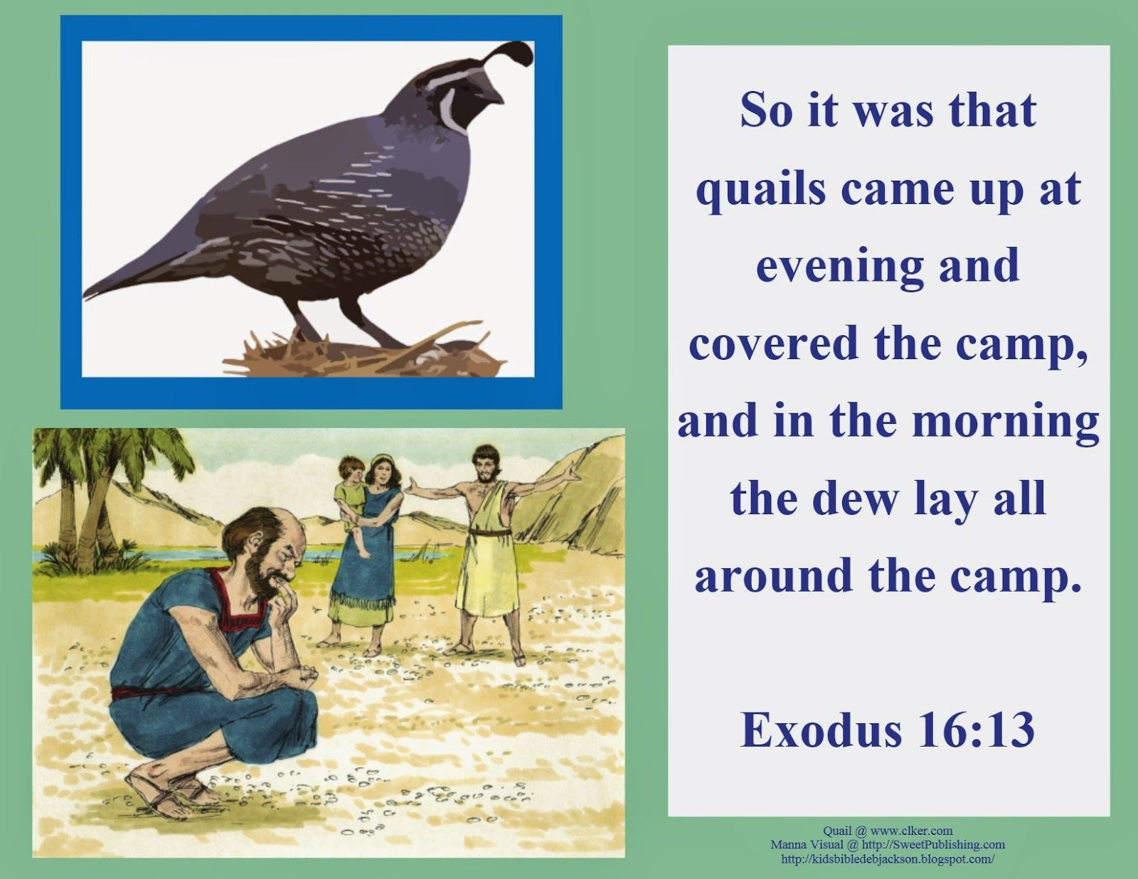 Bible Fun For Kids Moses Manna Amp Quail To Eat