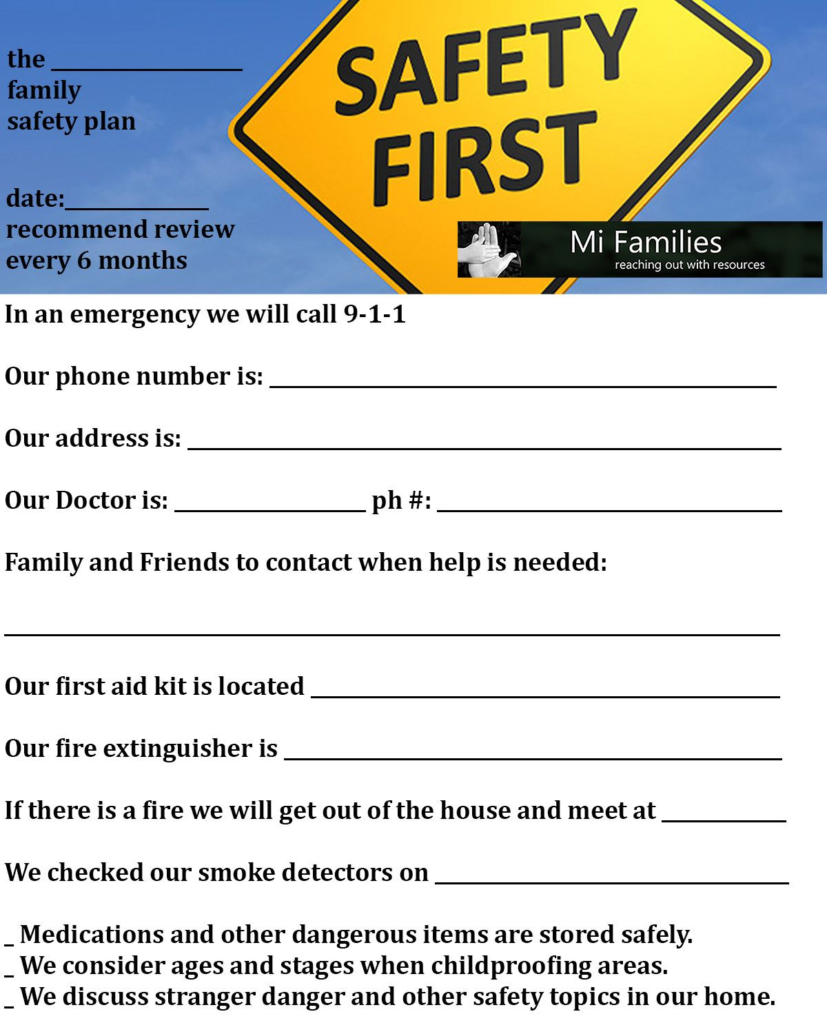 printable worksheet for families click image for healthy safety article w links and. Black Bedroom Furniture Sets. Home Design Ideas