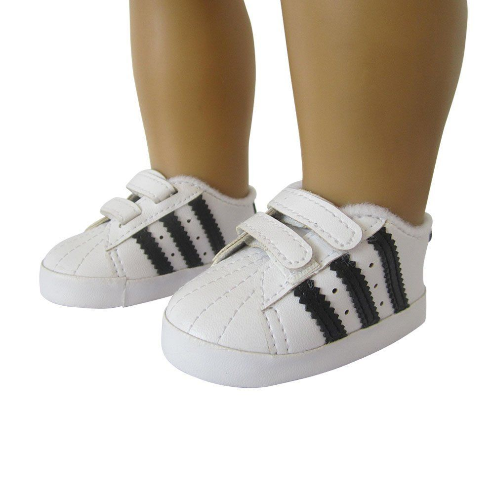 Adidas Super star black and white shoes. Find this Pin and more on American  Girl doll clothes ... 38075741a38a