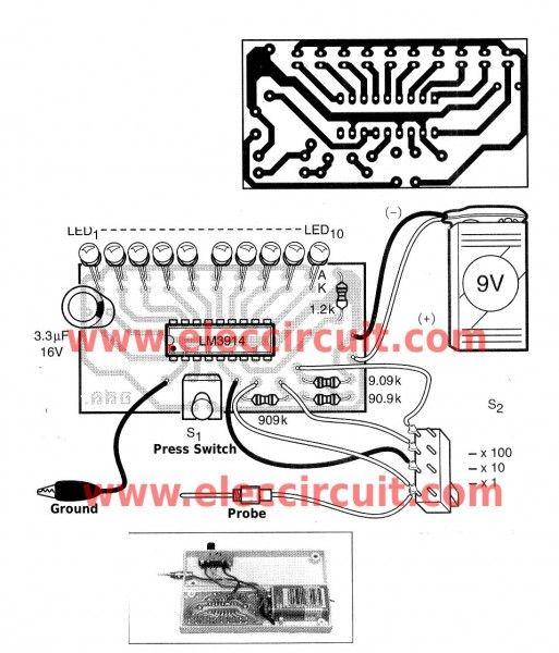 simple led voltmeter circuit using lm3914 eleccircuit electronic rh pinterest com