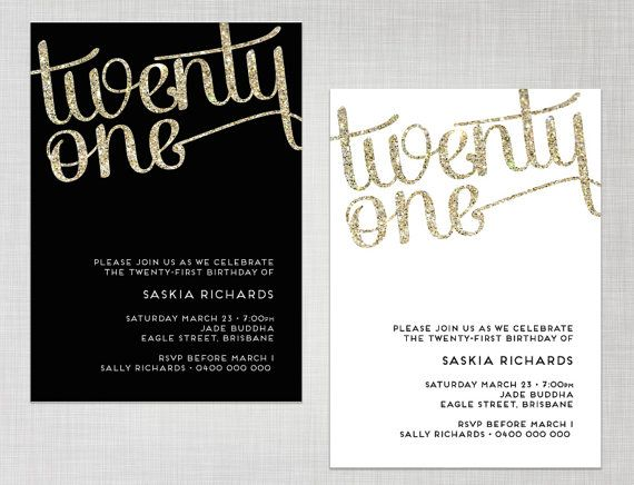 printable 21st birthday gold glitter black or white party invitation