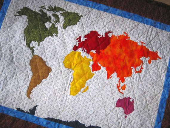 PDF Pattern OUR WORLD Patchwork Map Quilt Pattern Full Sized ...