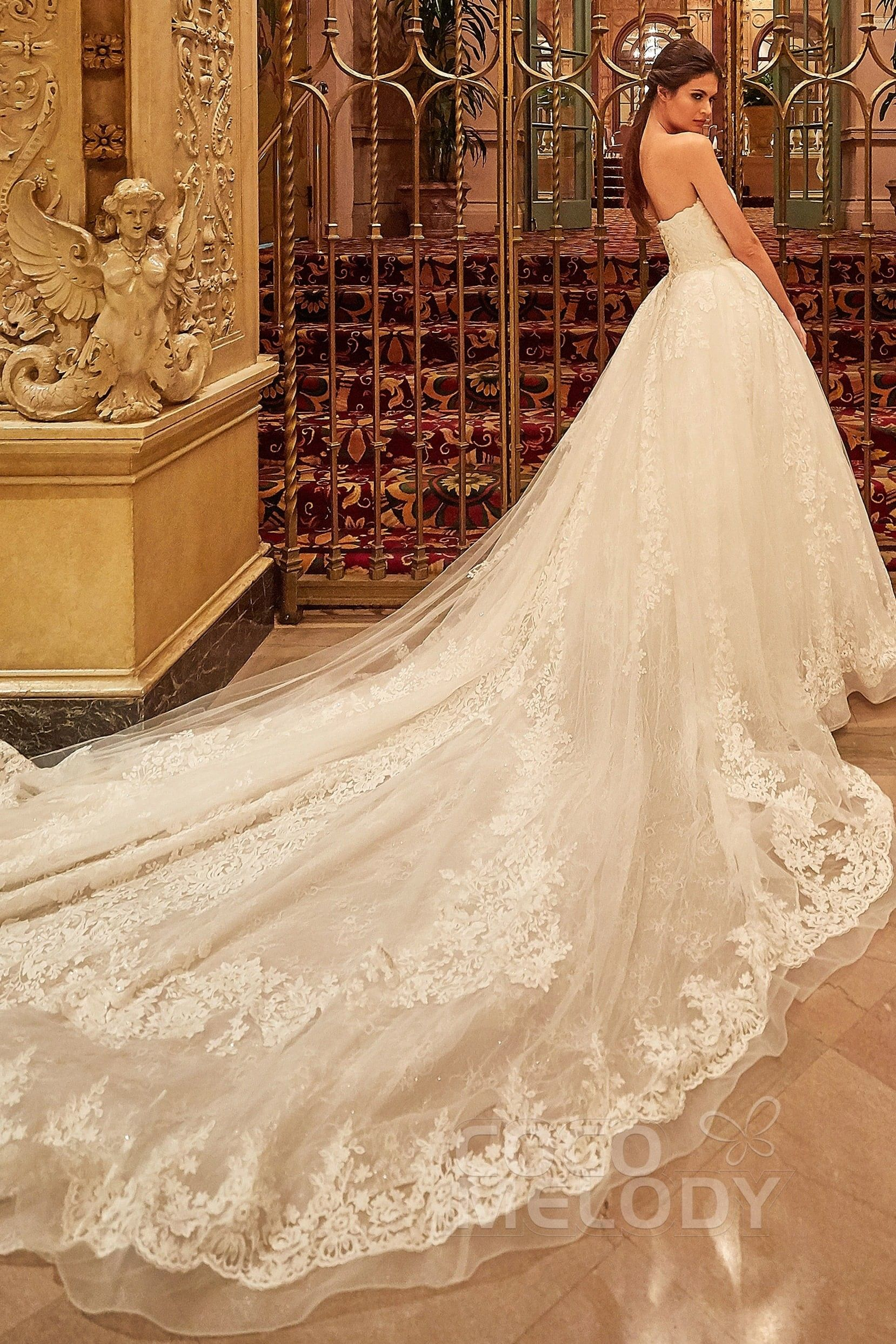 [ USD 1200 ] Ball Gown Strapless Cathedral Train Wedding