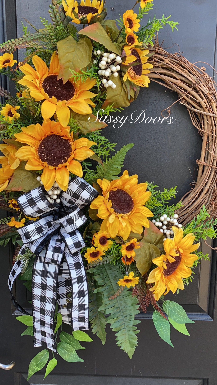 Sunflower Wreaths Sassy Doors Wreath Front Door Wreath Grapevine Wreath Grapevine Door Wreath D Fall Grapevine Wreaths Easy Fall Wreaths Sunflower Wreaths