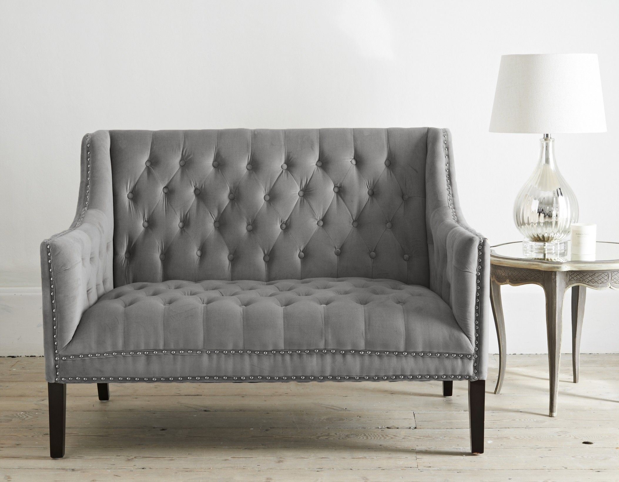 Sophisticated 2 Seater Sofa In Grey Velvet Upholstery With