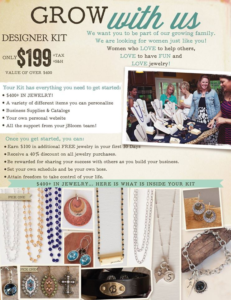 Looking for ladies to join my team and help me grow jBloom. Create your own income on the side with this beautiful jewelry line!