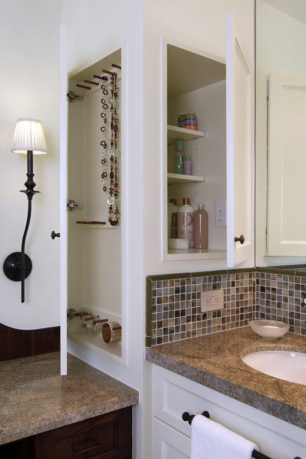 Built In Medicine Cabinet With Shallow Jewelry Cabinet On Front