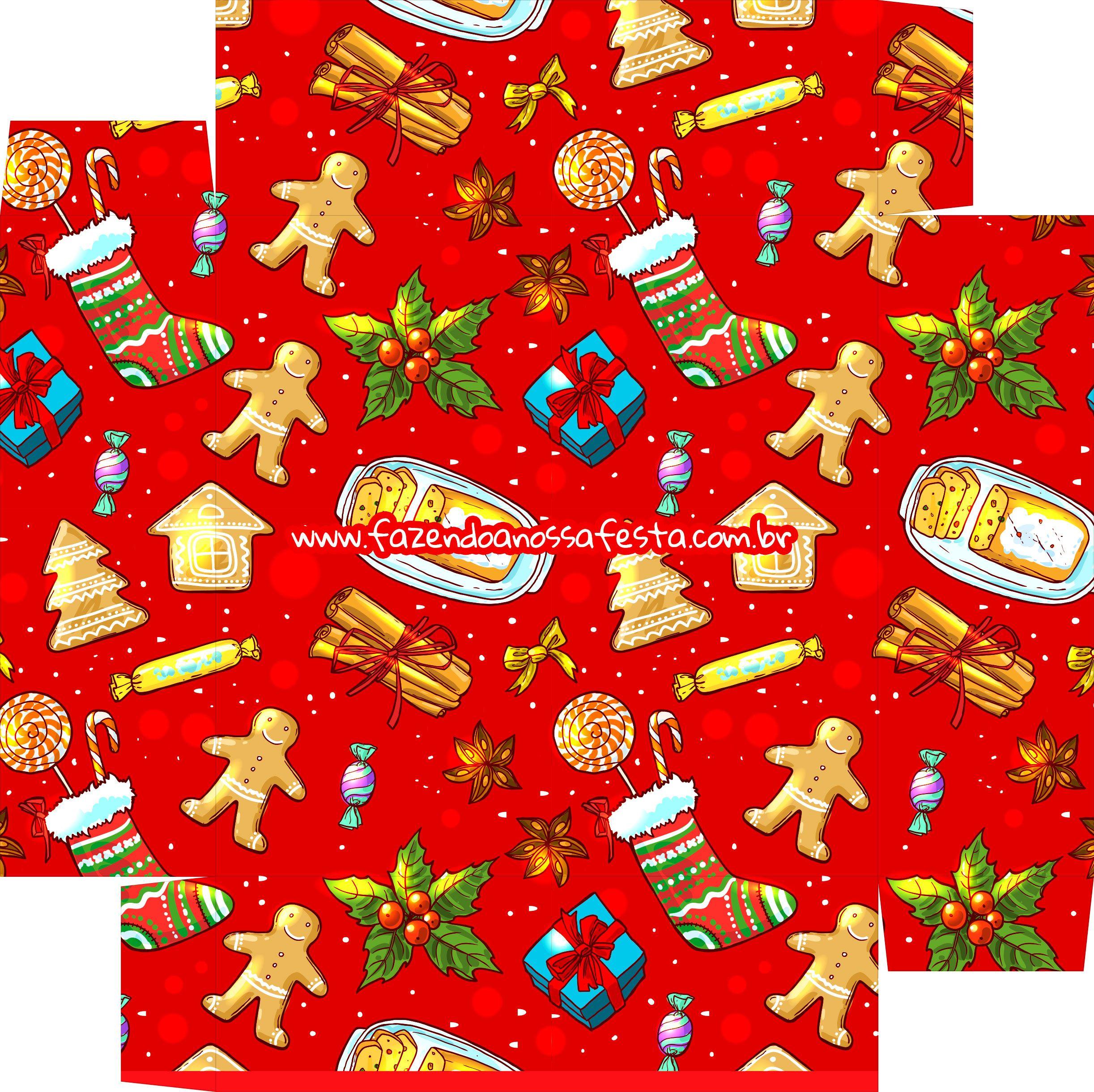 Caixa Bombom para o Natal Papai Noel - Parte de baixo