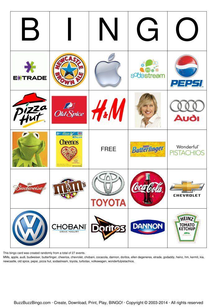 Superbowl Commercials Bingo Card. | Shahinur Rahman | Pinterest ...