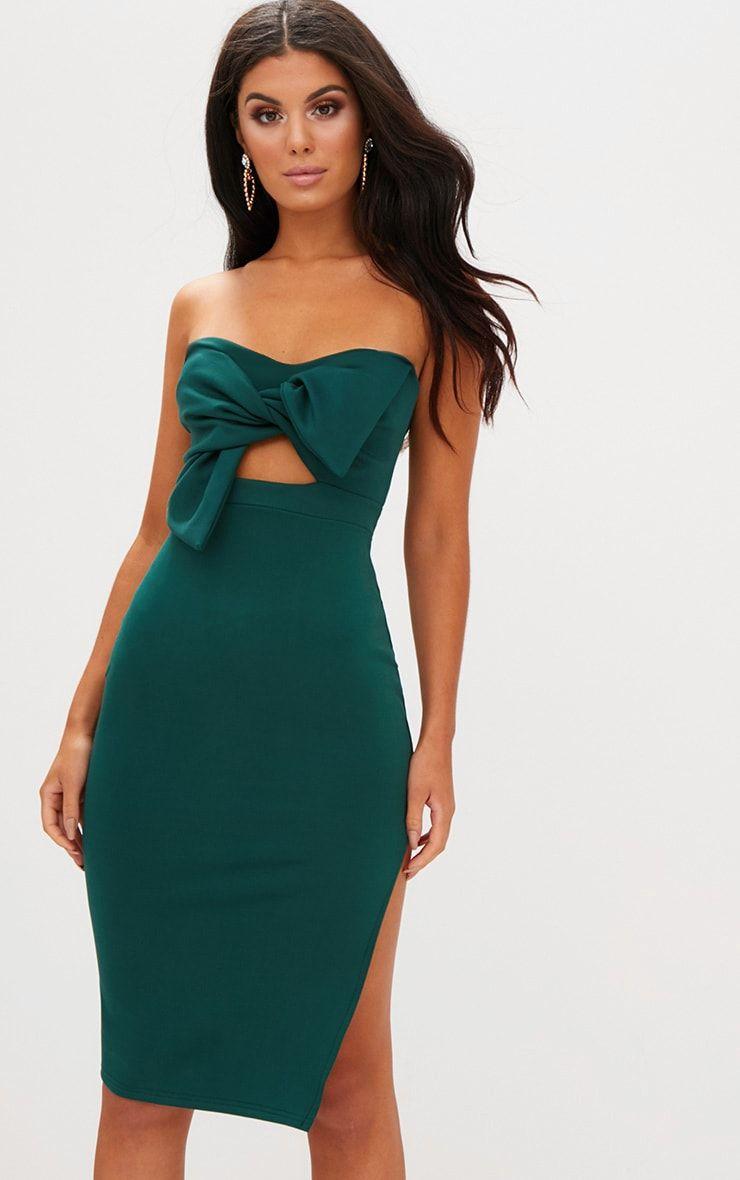 8d539d946 Emerald Green Bow Detail Scuba Midi Dress | AsNmm | Dresses ...