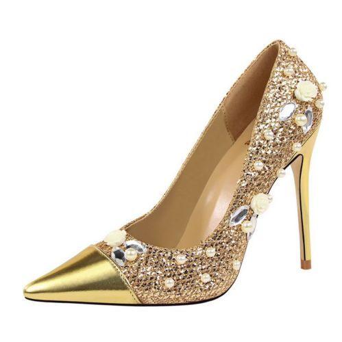 Womens Rhinestones Pearl Pointy Toe Wedding Shoes Stilettos Classic Sequin Heels