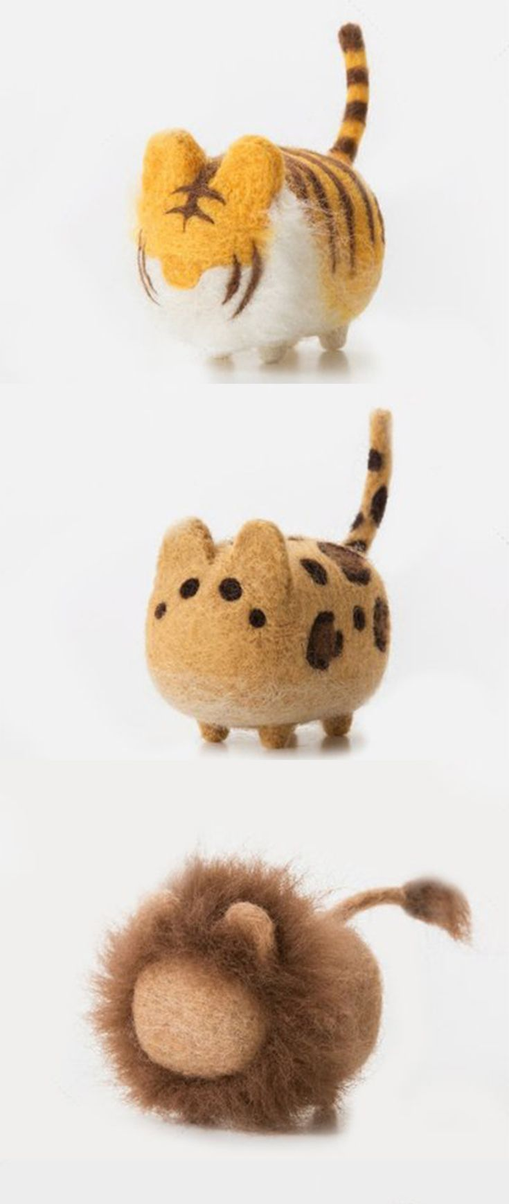 Felted Tiger Felted Leopard Felted Lion Diy Needle Felting Kit Needlecrafts Faceless Wild Cat Felted Animals N Needle Felting Kits Needle Felting Wool Cat