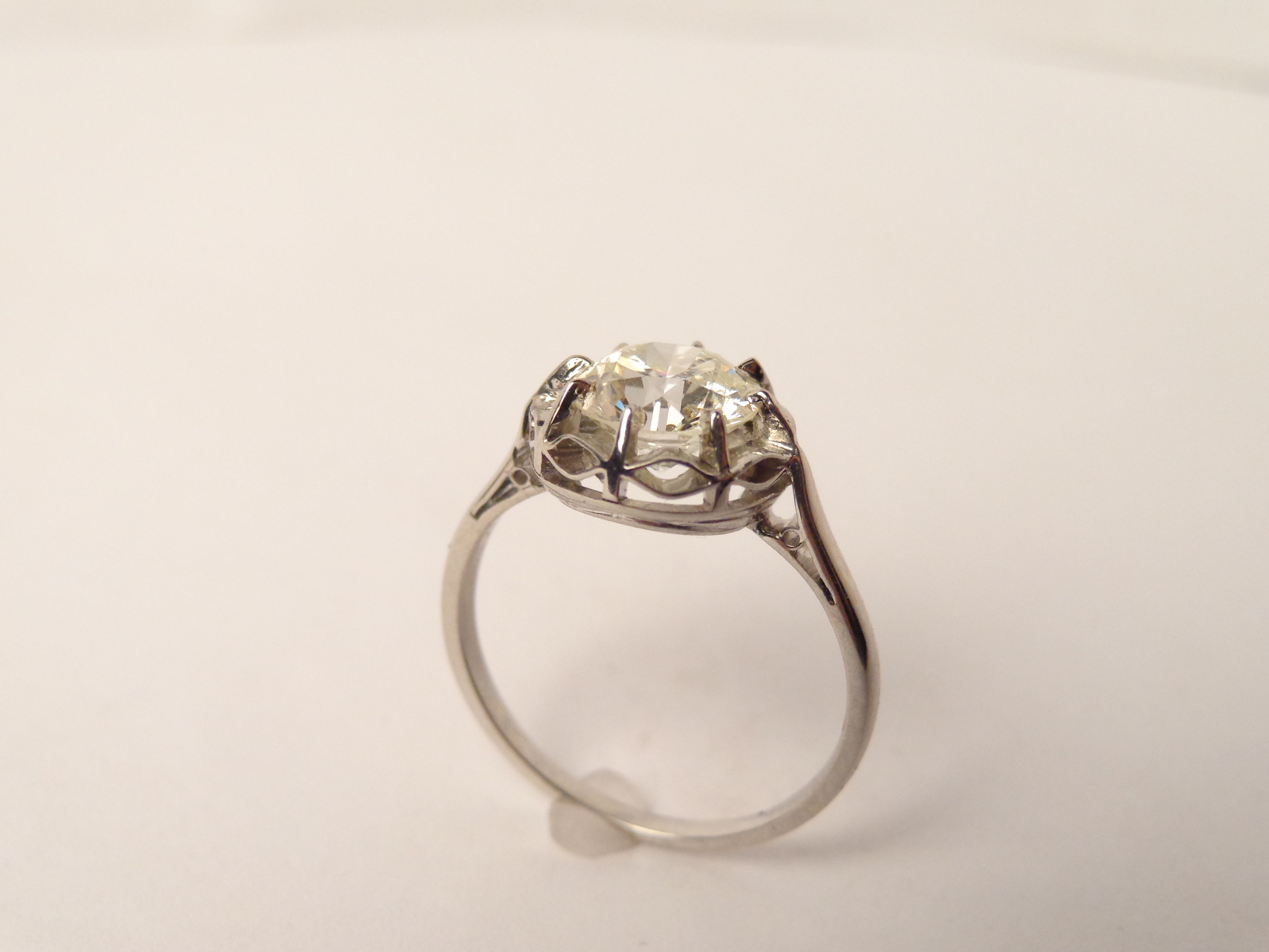 ESTATE Tiffany Co Stampped 8 Prong Platinum 1920s Mtg Vintage Engagement RingsTiffany