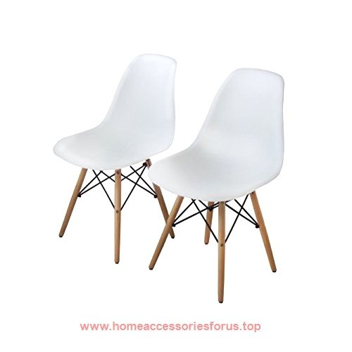 buschman set of two white eames style mid century modern dining room