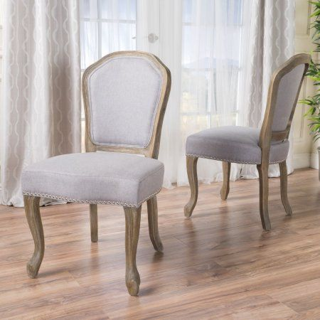 8607e5c86d5c Noble House Gentry Farmhouse Fabric Dining Chairs, Set of 2, Light Grey,  Gray