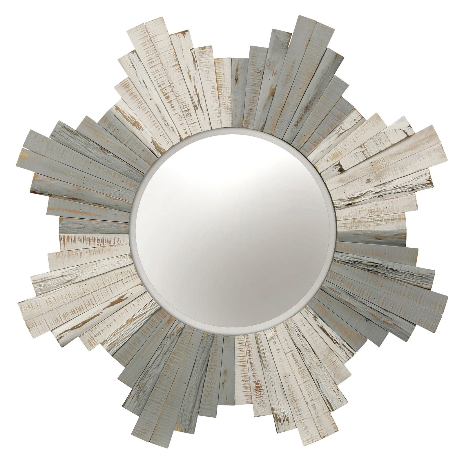 Stylecraft Natural Wood Sunburst Wall Mirror 36 Diam In Reclaimed Wood Mirror Round Wall Mirror Wood Mirror