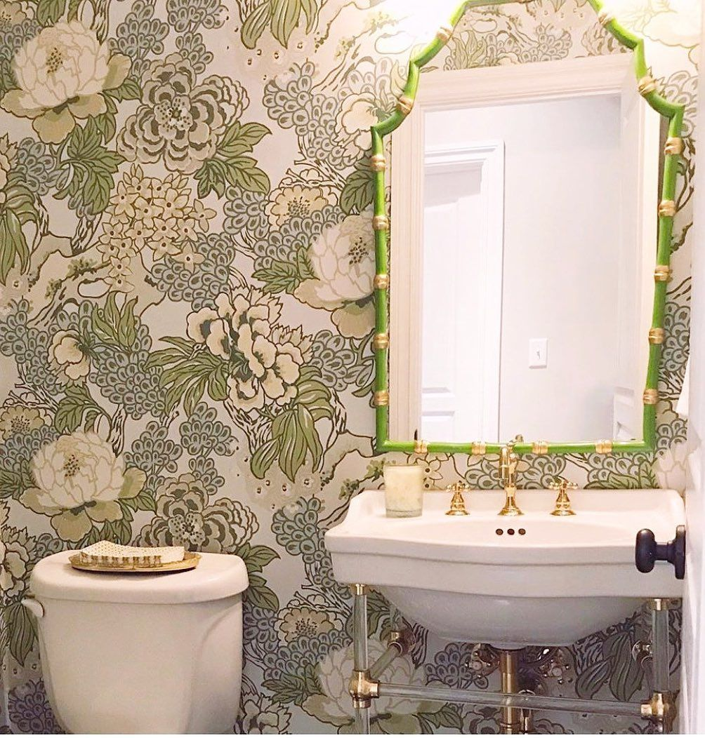 Dana Gibson Inc On Instagram Charming Powder Room With A Green Bamboo Mirror And Thibaut Wallpape Powder Room Wallpaper Bathroom Remodel Master Bamboo Mirror
