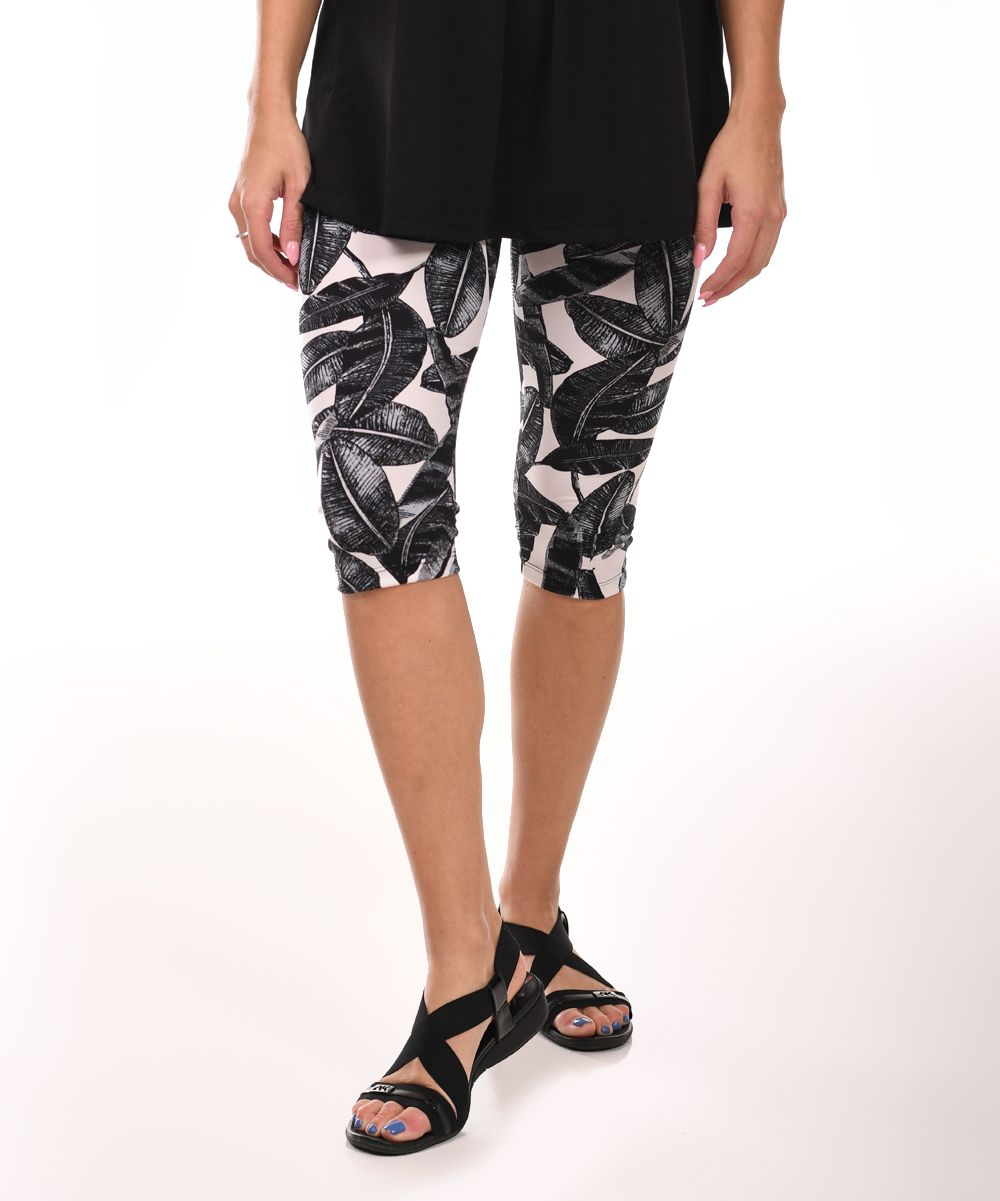 5066eed49abd47 Black & White Leaf Capri Leggings | Products | Black, Capri leggings ...