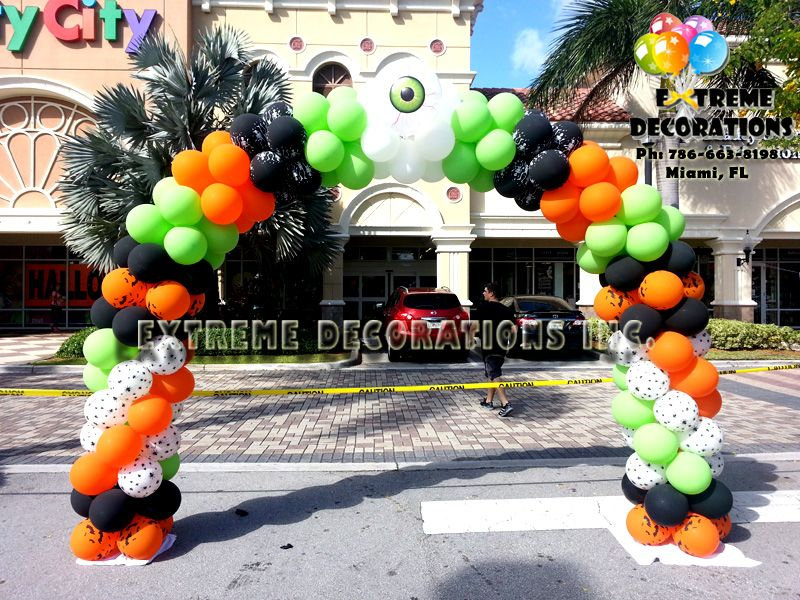 Halloween balloon arch miami balloon decorations party for Balloon decoration for halloween