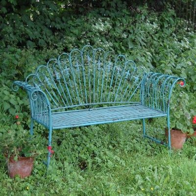 Garden Furniture Shabby Chic Metal Bench Vintage Look Bench Antique Blue  Chair