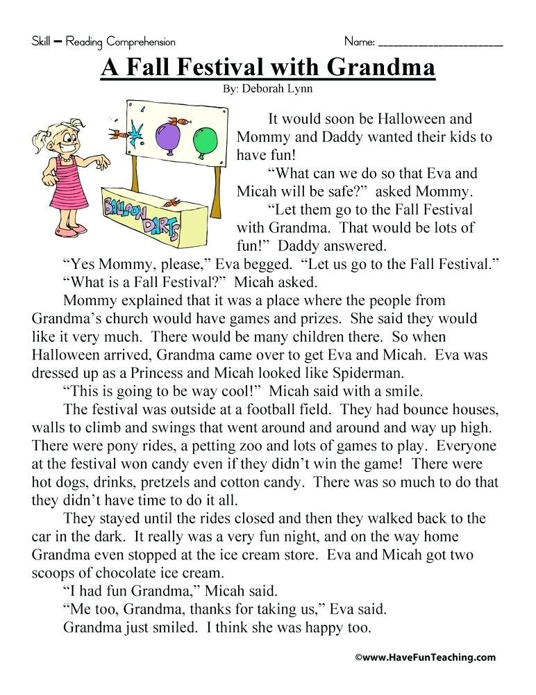 A Fall Festival With Grandma Reading Comprehension