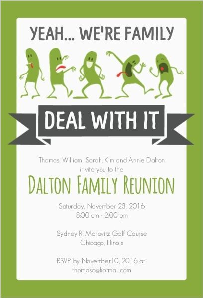 Funny Family Reunion Invitation u2026 Pinteresu2026 - class reunion invitations templates