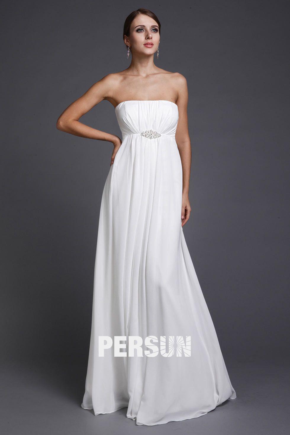 f15f417f1a2 Simple robe blanche longue bustier droit empire - Robedesoireelongue ...