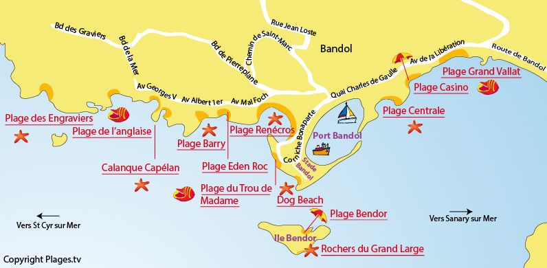Plan des plages de Bandol dans le Var | Cartes ancienes | Pinterest