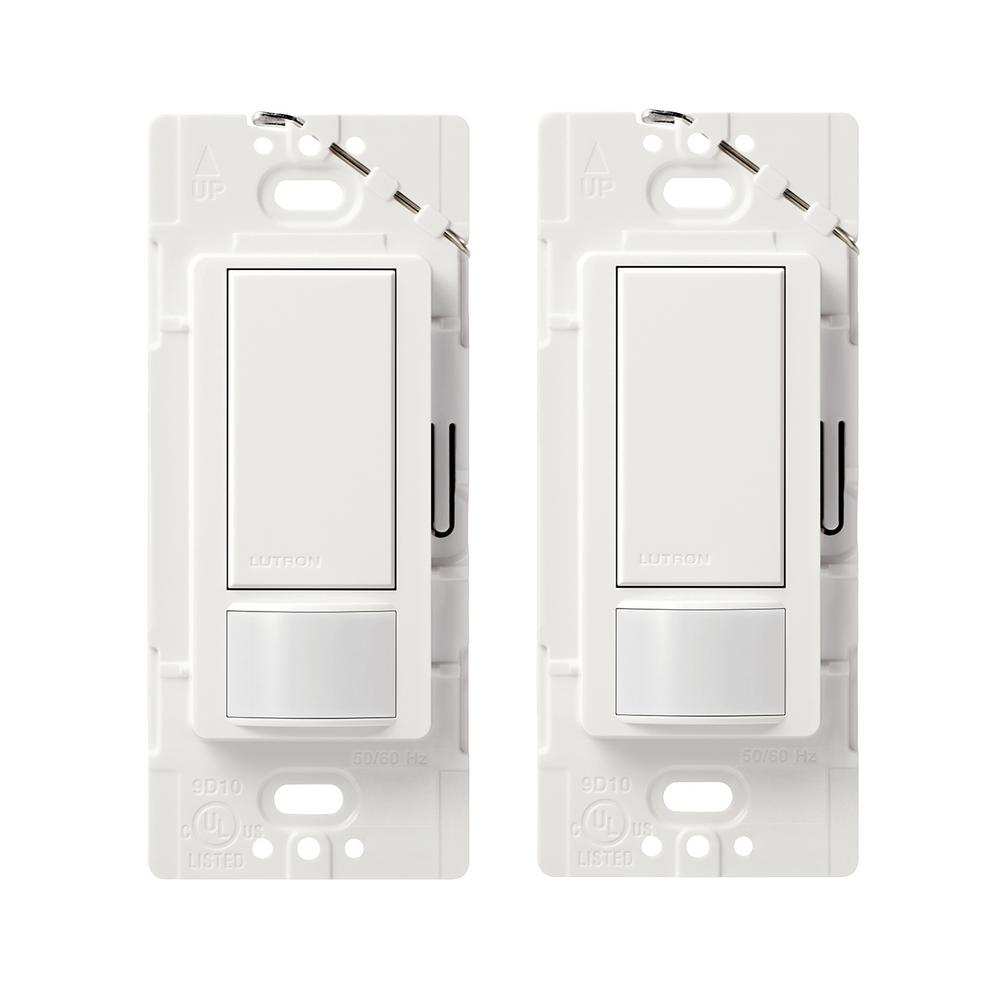 Lutron Maestro Motion Sensor Switch 2 Amp Single Pole White 2 Pack Ms O2s 2pk Wh The Home Depot Motion Sensor Lutron Tv Cord Cover