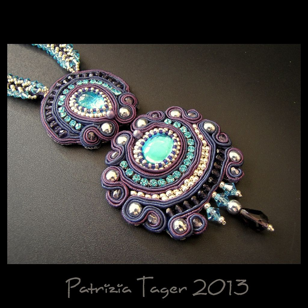 Purple Lagoon - OOAK Soutache Embroidered Necklace | Flickr - Photo Sharing!
