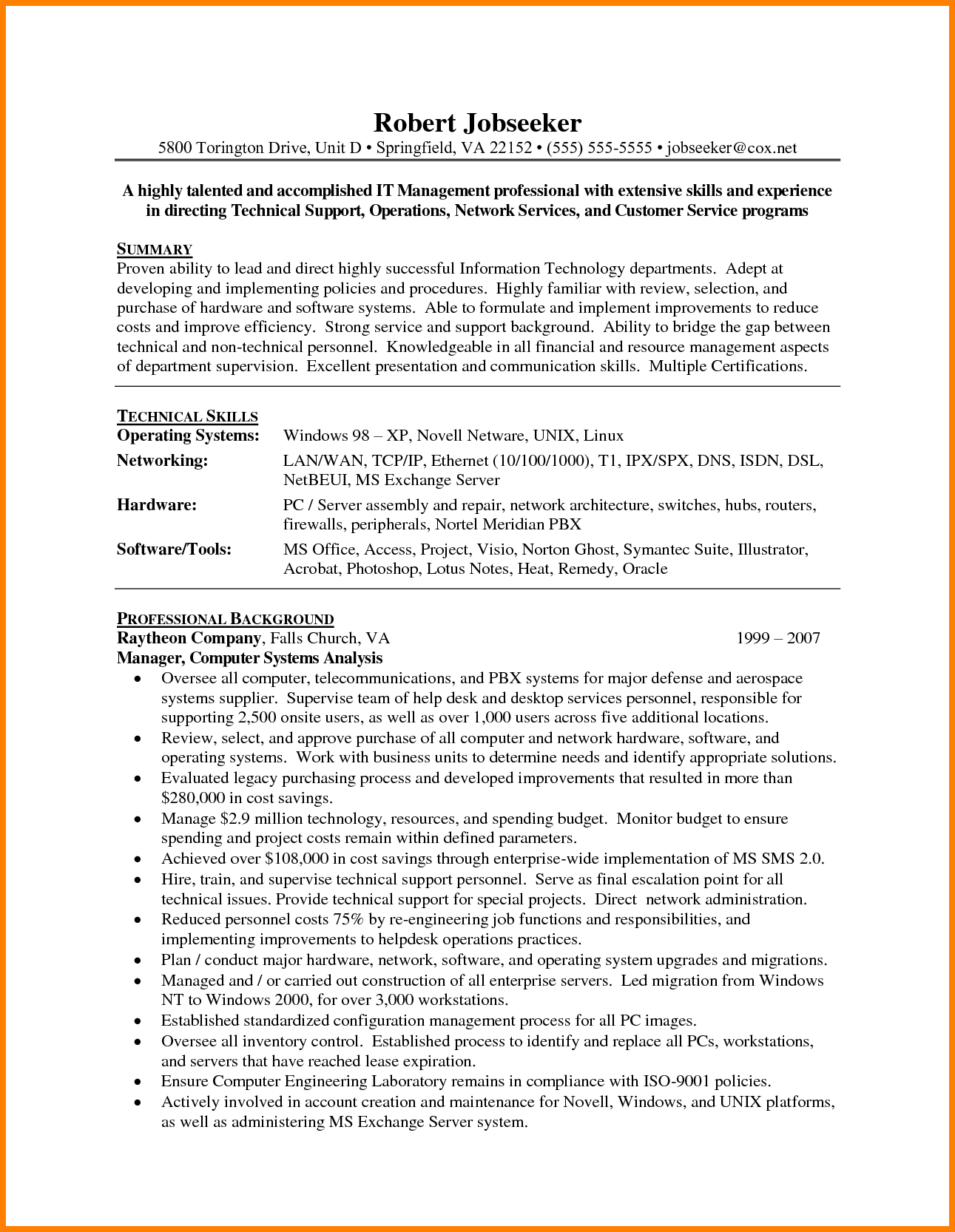 23 Information Technology Manager Resume Examples in 2020