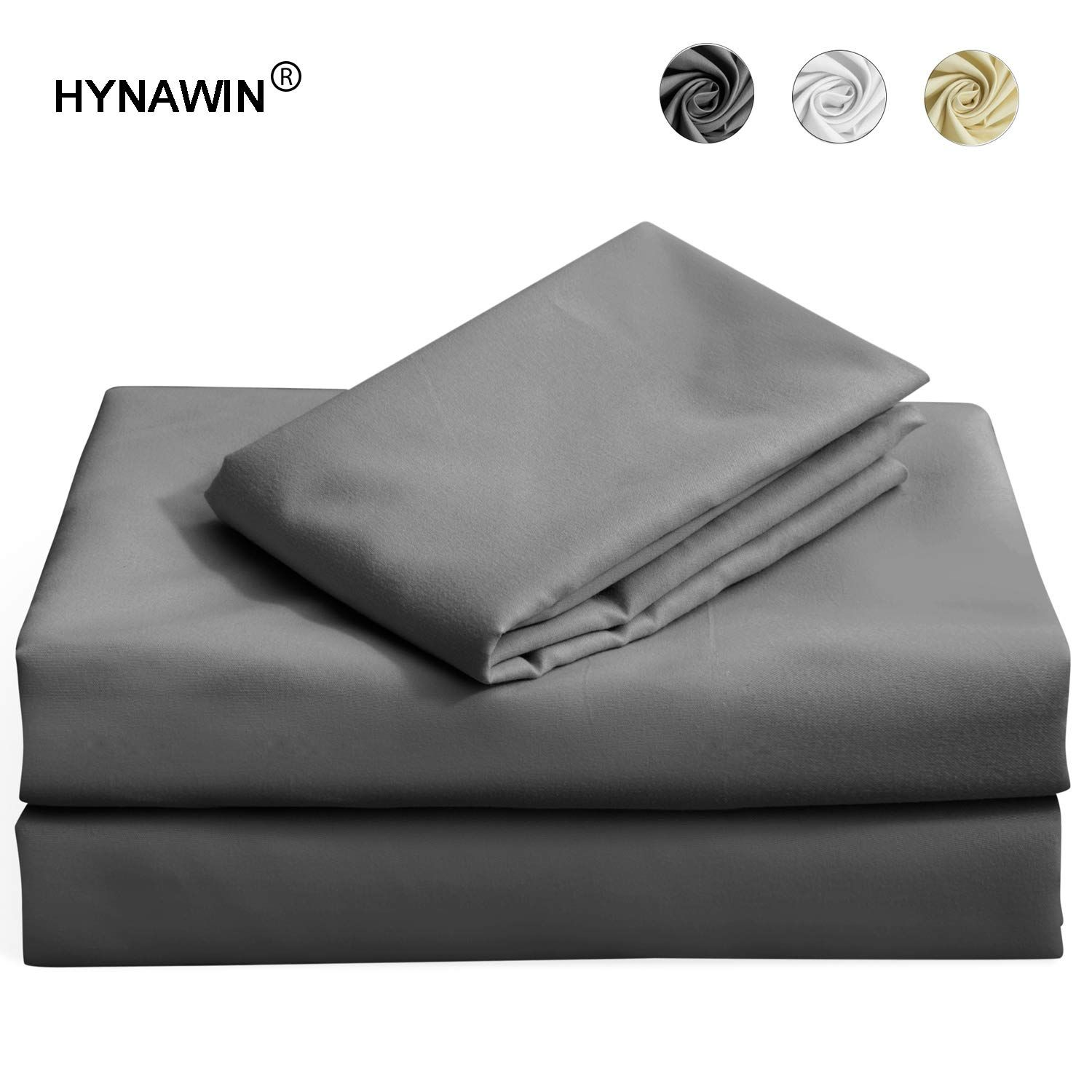 HYNAWIN Twin Size Bed Sheet Set with 14 in Deep Pocket