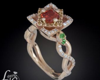 14kt Rose Gold Sunset Red Sapphire Lotus Blossom Engagement Ring with Tsavorite Garnet Leaves - LS3485  $2429.25 I would totally go halves on this
