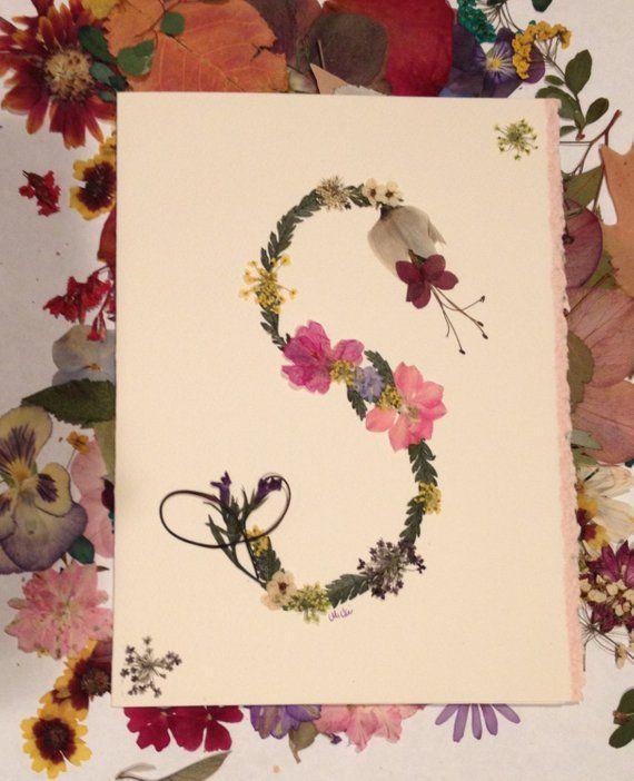 Artikel ähnlich wie gepresste Blumen personalisierte Monogramm erste Karte botanische Kunst Karten leere Karten auf Etsy