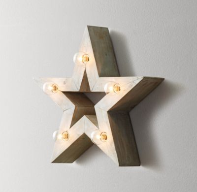 Illuminated Wooden Marquee Small Star Weathered White