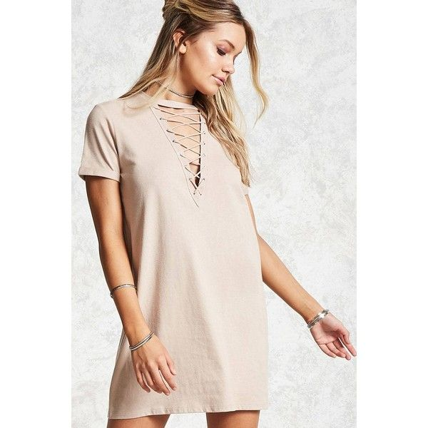 c6d5338a2b Forever21 Lace-Up T-Shirt Dress ( 12) ❤ liked on Polyvore featuring dresses