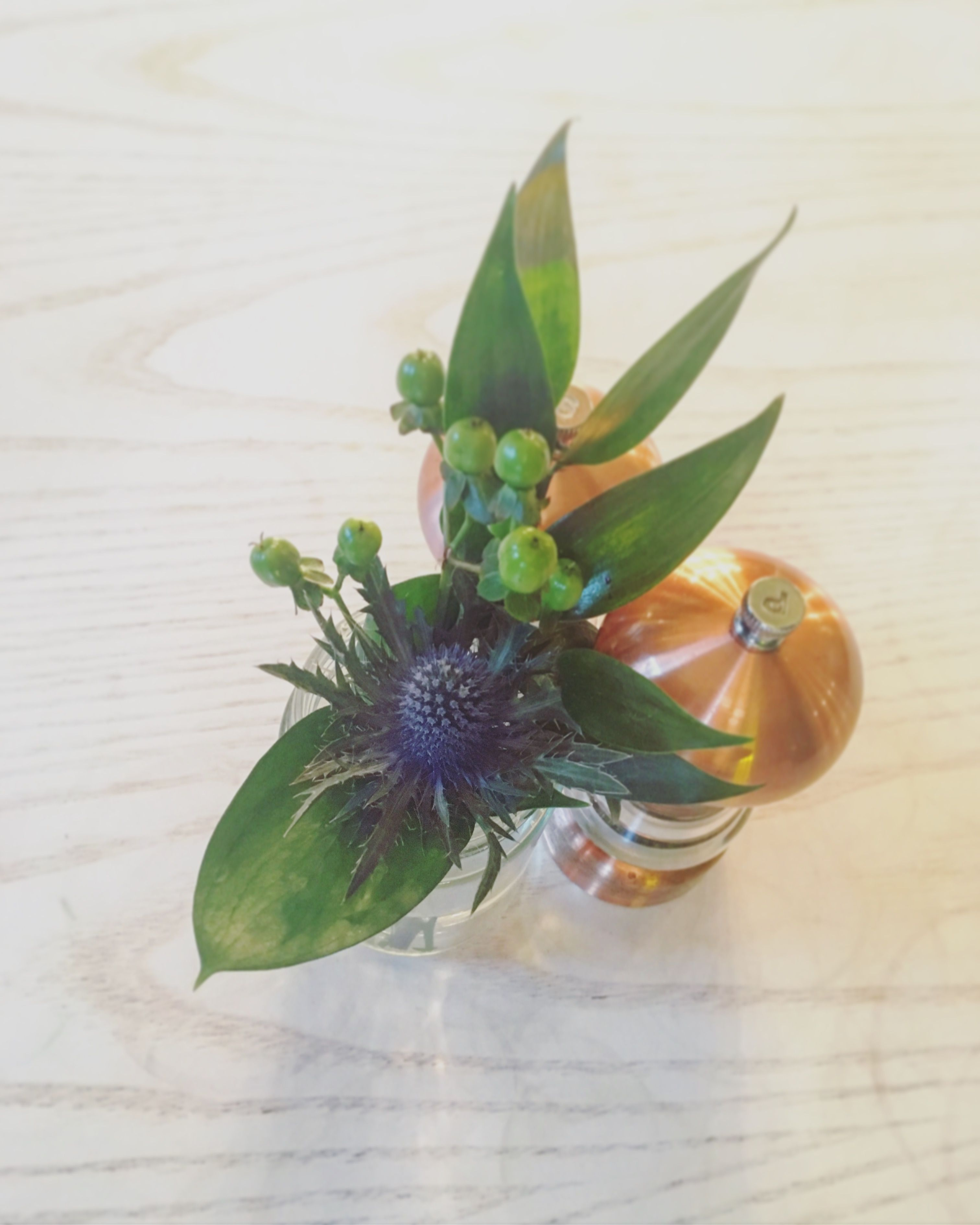 Thistles are popping up everywhere, I predict a new trend coming. Flowers are the perfect table decoration.