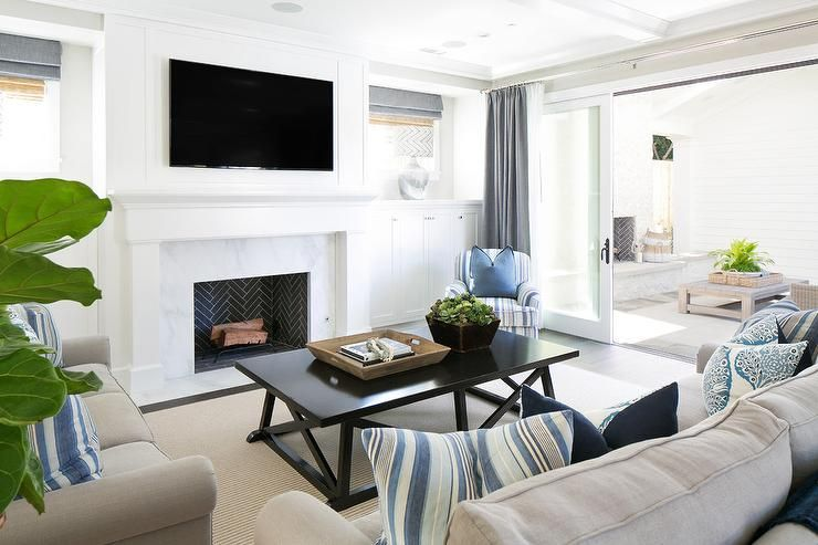 Transitional Living Room Features A Pair Of Matching Gray