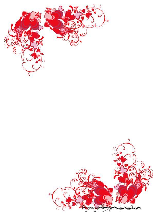 hojas con corazones para imprimirImagenes y dibujos para imprimir