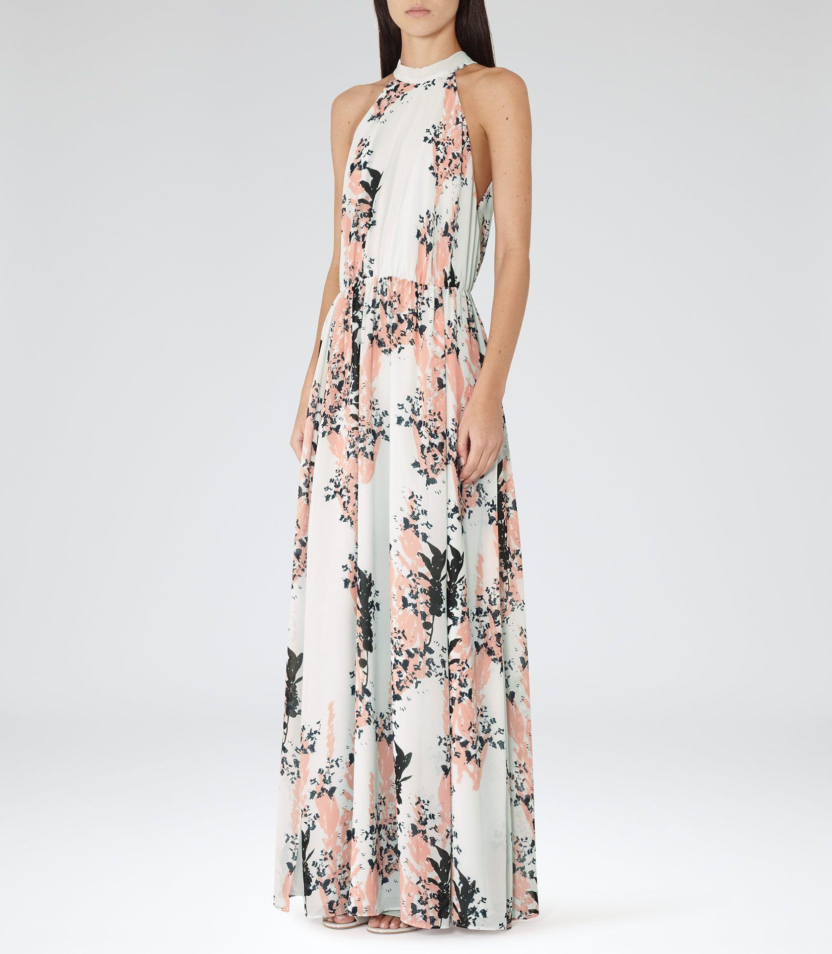Womens Coral Floral-print Maxi Dress - Reiss Arleta  31c368b11