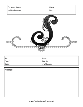 This Free Printable Fax Cover Sheet Has A Monogrammed Letter S On