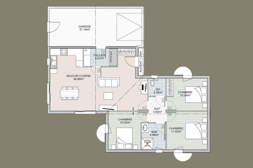 Plan Sequoia 3 chambres + garage Maison Pinterest