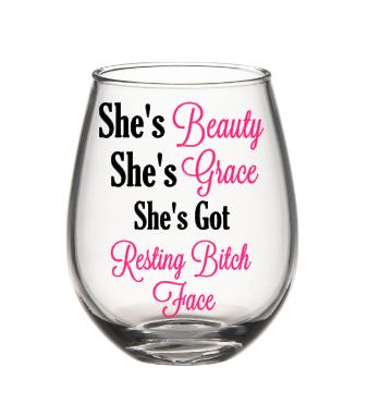 712ce979c5e Funny Wine Glass, Resting Bitch Face Glass, Bitch Wine Glass ...
