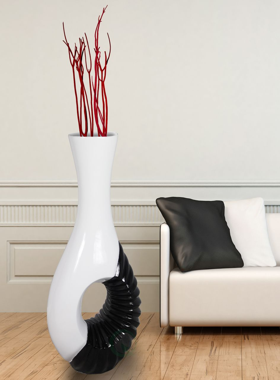 Modern Black and White Large Floor Vase - 43 Inch | Modern, Large ...