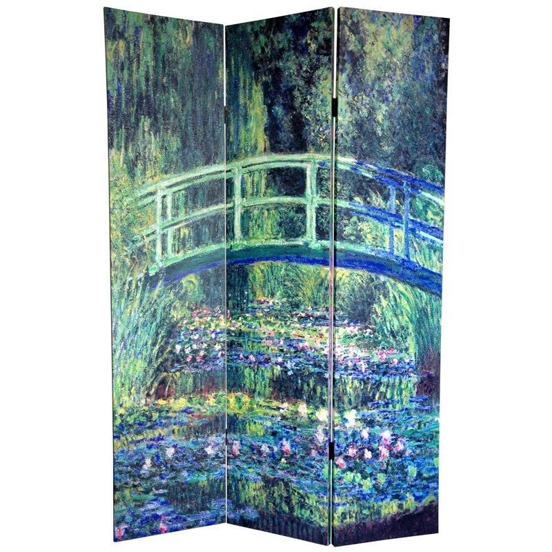Oriental Furniture X Double Sided Works Of Monet 3 Panel Room Divider I