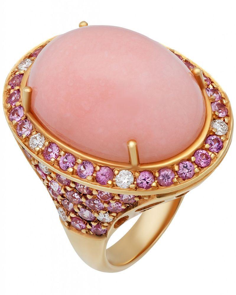 GIANNI LAZZARO 18K R/G, Diamonds, Sapphires, Opal, Ring Sz 6.25 4929 ...