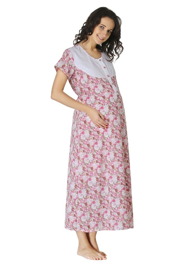 03f3893d643b6 morph maternity - pink floral feeding nighty - accessible zipper, easy  feeding